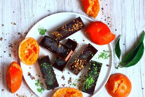 Barres glacées à la clémentine et au chocolat