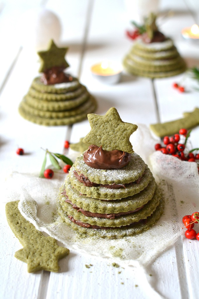 Petits sapins de biscuits – thé matcha et pâte à tartiner