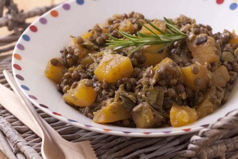 Lentilles aux poireaux, potiron et romarin
