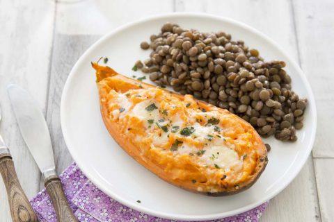 Patates douces fondantes farcies au cheddar