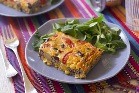 Omelette façon tortilla aux tomates, maïs et haricots rouges