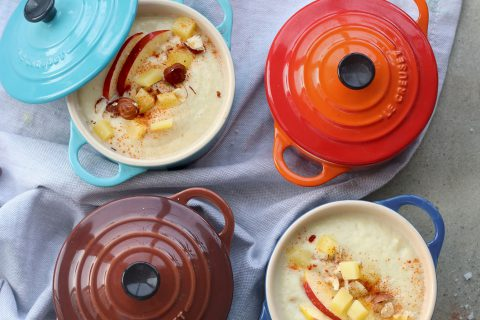 Velouté de cèleri rave à la pomme et à la crème d'amande