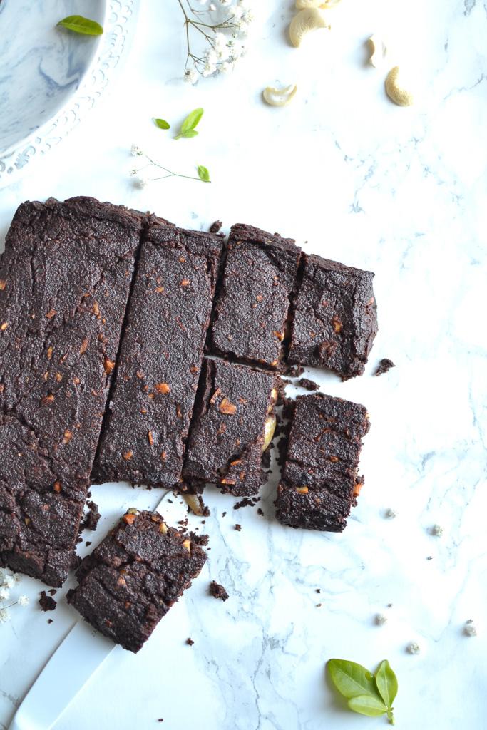 Brownie au chocolat, à la banane et à l'okara de noisette