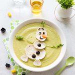 Soupe froide courgettes chèvre – décoration Olaf