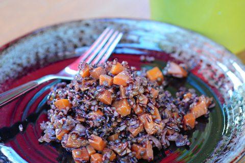 Risotto de riz noir et lentilles, courge Butternut