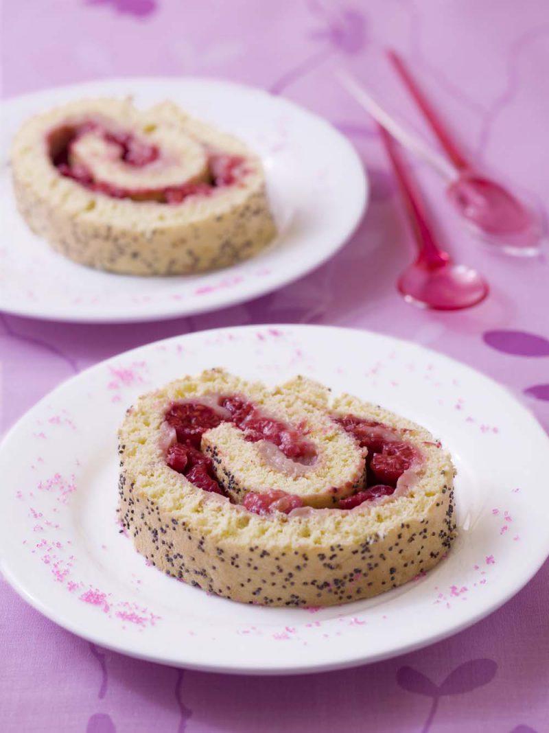 Gâteau roulé framboises goyave