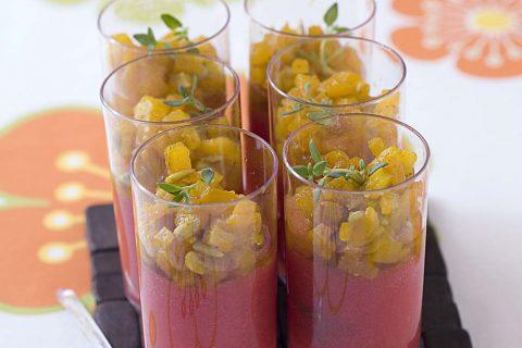 Verrine tomates poivrons jaunes